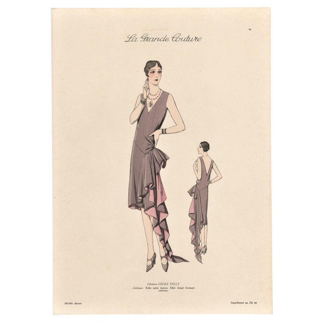 1920 French Art Deco Couture Fashion Print For Sale