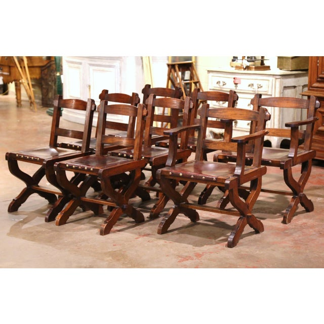Spanish Carved Oak and Leather Dining Chairs, Set of 6 Side Chairs 2 Armchairs For Sale - Image 9 of 9