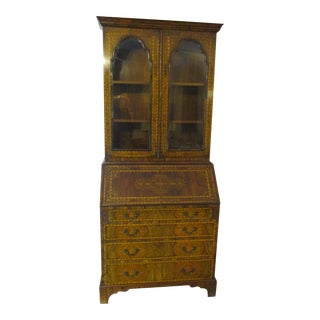 18th Century English Queen Anne Seaweed Marquetry Secretary