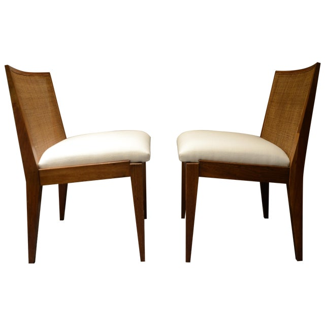 Edward Wormley Caned Back Linen Chairs - Pair - Image 1 of 5