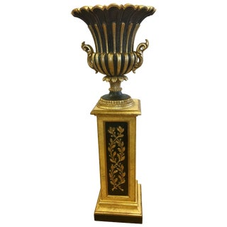 Carved Giltwood and Black Regency Vase and Pedestal Stand, 2 Pieces For Sale