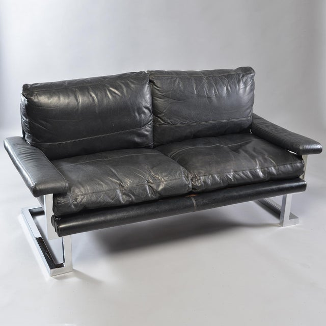 Bauhaus Black Leather and Chrome Sofa by Tim Bates for Pieff & Co For Sale - Image 3 of 8