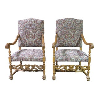 1970s Vintage Carved Tudor Style Patterned Arm Chairs- A Pair For Sale