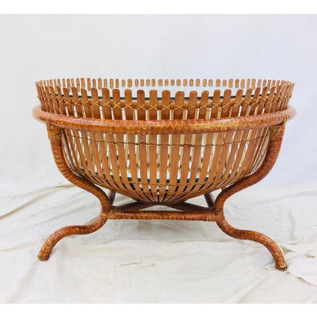 Americana Vintage Rattan & Glass Top Coffee Table For Sale - Image 3 of 12