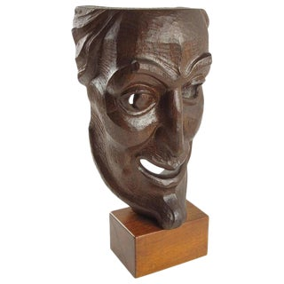 Hand-Carved Palm Wood Mask Sculpture Signed and Dated, 1956 For Sale