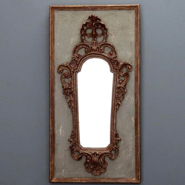 Pair 19th Century Italian Sconces With Carved Mirror and Gesso Frames - Image 4 of 10