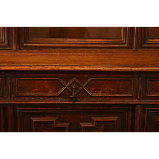Antique French Hunt-Style Bookcase & Buffet - Image 6 of 8
