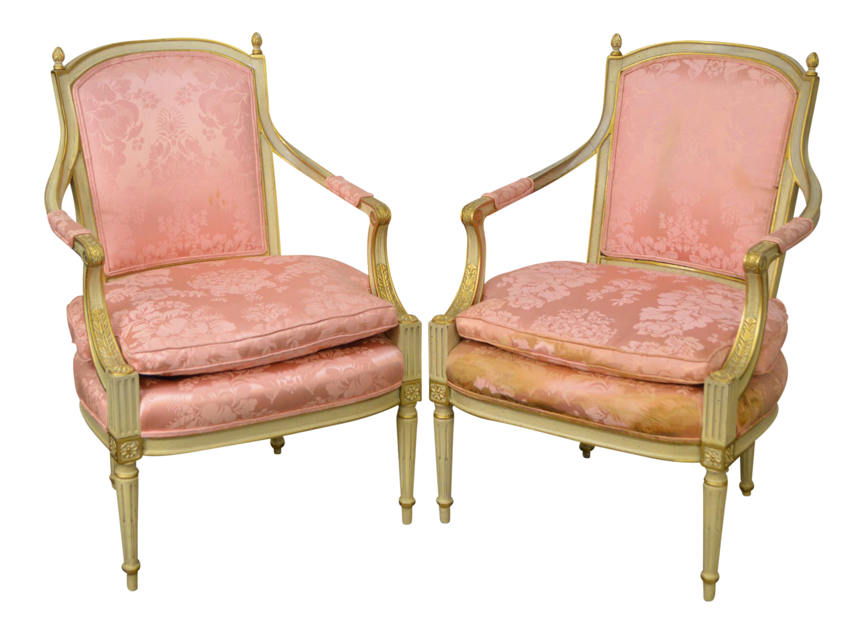 Vintage Custom Painted French Louis XVI Style Fauteuils Arm Chairs