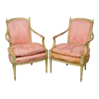 Vintage Custom Painted French Louis XVI Style Fauteuils Arm Chairs - A Pair