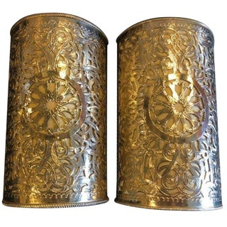 Moorish Filigree Handmade White Brass Wall Lanterns/Sconces - a Pair For Sale