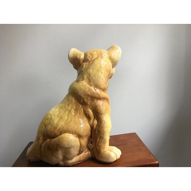 Vintage Eclectic Life-Size Ceramic Lion Cub For Sale - Image 4 of 8