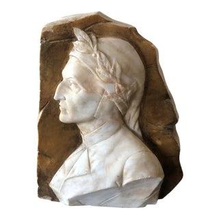 Alabaster Relief Profile of Dante Alghieri For Sale