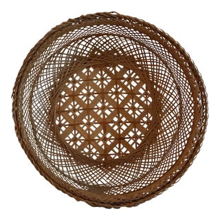 Vintage Woven Pattern Basket For Sale