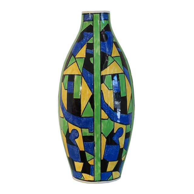 Metal 1920s Green Blue & Yellow Abstract Geometric Charles Catteau Vase For Sale - Image 7 of 7