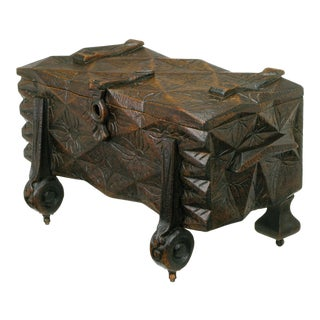 Large Heavily Carved Spanish Style Trunk on Legs For Sale
