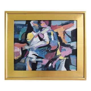 """Ray Cuevas, Abstract """"Dancers"""" Oil Painting W/ Gold Leaf Frame For Sale"""