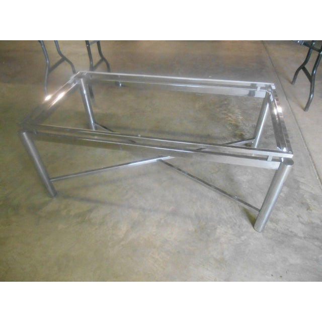 Vintage Mid-Century Modern Chrome & Floating Glass Top Coffee Table For Sale - Image 6 of 9