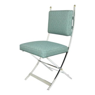Set of Four Polished Aluminum Campaign Chairs by Jansen For Sale
