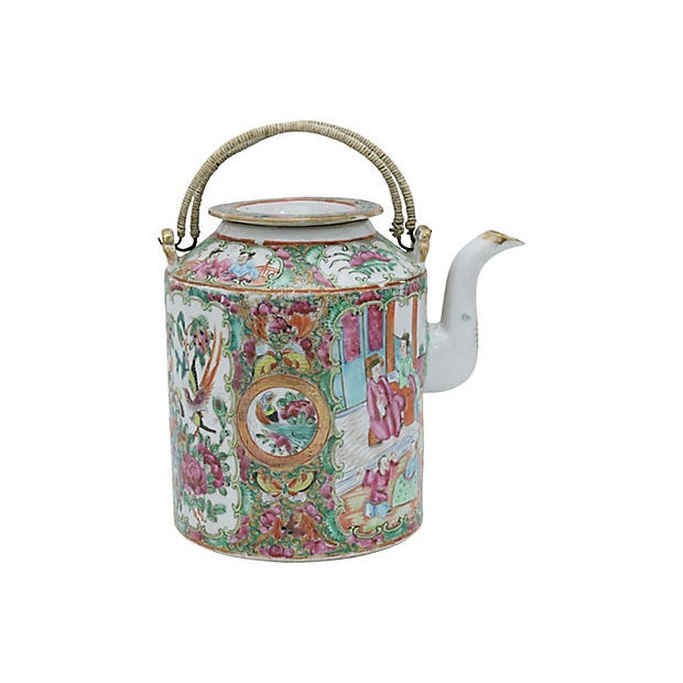 19th Century Antique Chinese Famile Rose Teapot For Sale - Image 5 of 5