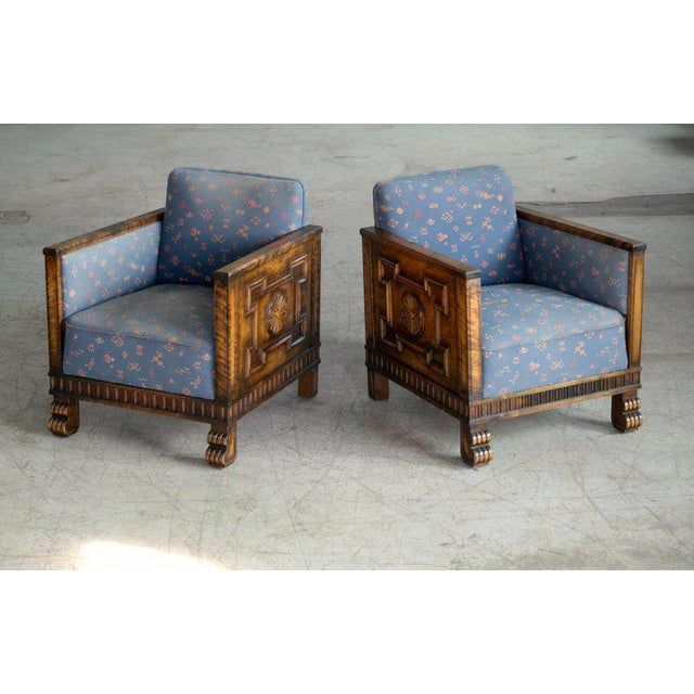 Amazing and rare pair of lounge chairs by Swedish Master, Axel Einar Hjorth made circa 1920s-1930s most likely by Bodafors...