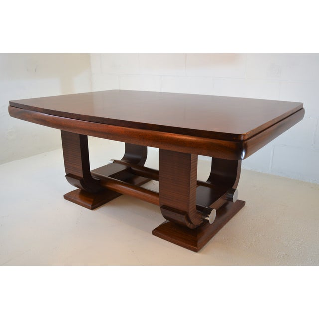 Art Deco Fabulous Gaston Poisson Art Deco Dining Room Table in Mahogany, 1930. For Sale - Image 3 of 11