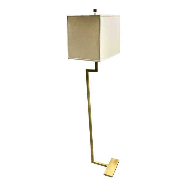 Single French Modern Brass Floor Lamp by Jacques Quinet | Chairish