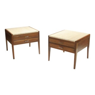 Mid-Century Travertine and Walnut Side Tables - A Pair For Sale