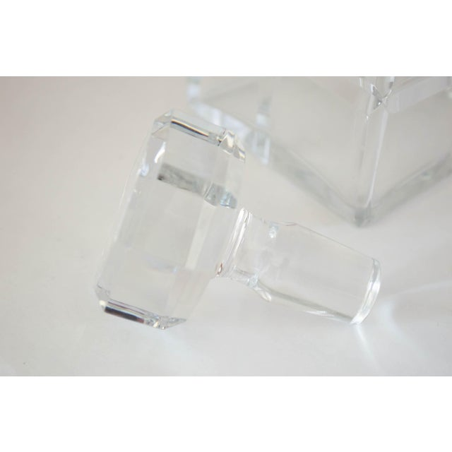 Glass Square Cut Crystal Whiskey Decanter W/Stopper For Sale - Image 7 of 9