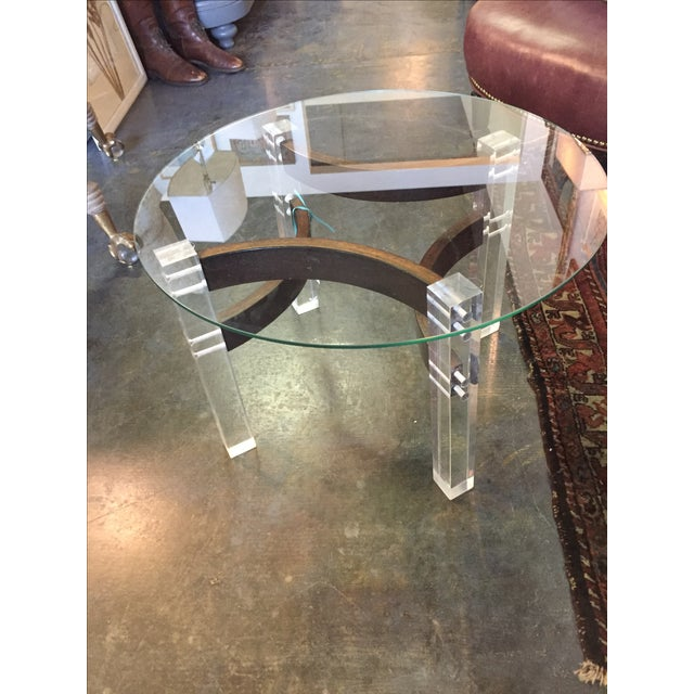 Offered is this unique mid century side table featuring Bentwood stretchers supported by lucite legs and a round glass...