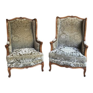 Pair Louis XV Wingback Armchairs ~ Bergeres For Sale