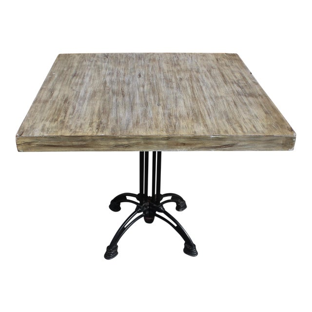 1920s French Country Cast Iron Base Walnut Top Dining / Bistro Table For Sale