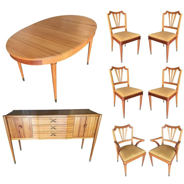 Mid-Century Walnut Dining Room Set Table, Chairs, Buffet - 8 Pc. Set For Sale - Image 10 of 10