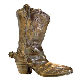 Vintage Brass Boot With Stirrup For Sale