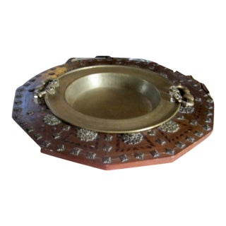 Early 19th Century Antique Inlay Wood and Brass Brazier For Sale