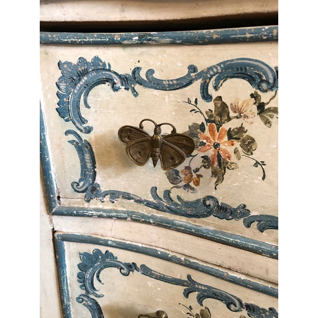 Gold 1950s Shabby Chic Italian Cream Hand Painted Chest of Drawers For Sale - Image 8 of 12