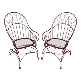 Red Wrought Iron Scrolling Bouncer Spring Patio Armchairs - A Pair