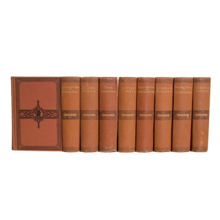 Antique Terracotta Dickens Classics Book Set, (S/9) For Sale