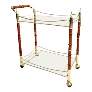 Mid-Century Bamboo & Glass Bar Cart