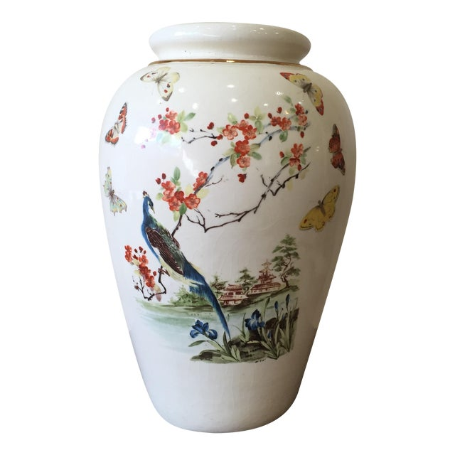 Large Vintage Vase With Peacock - Image 1 of 7