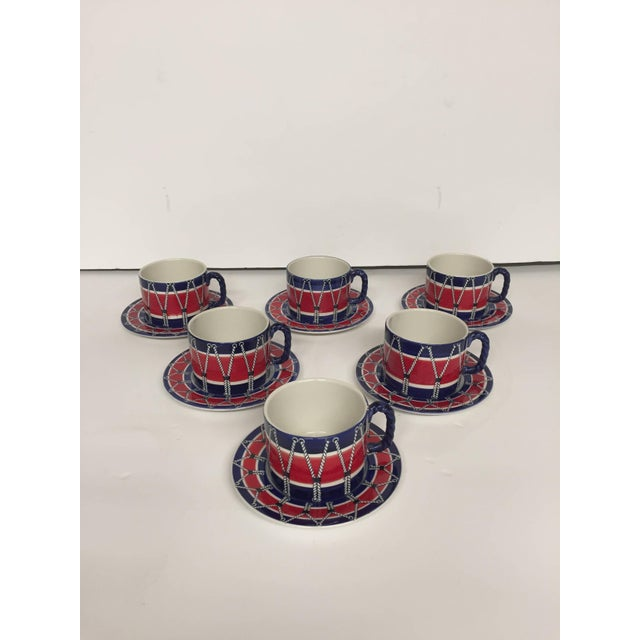 Red Red White and Blue Mancioli Drum Motiffe Dinnerware For Sale - Image 8 of 11
