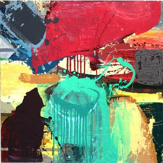"""Denmark Acrylic Painting """"Turban"""", Contemporary Colorful Abstract For Sale"""