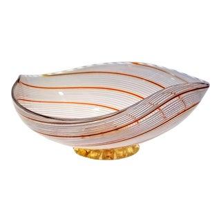 Vintage Murano Glass Bowl by Dino Martens - 1954 - Italy Mid Century Modern Minimalist Palm Beach Boho Chic Italian Venetian For Sale