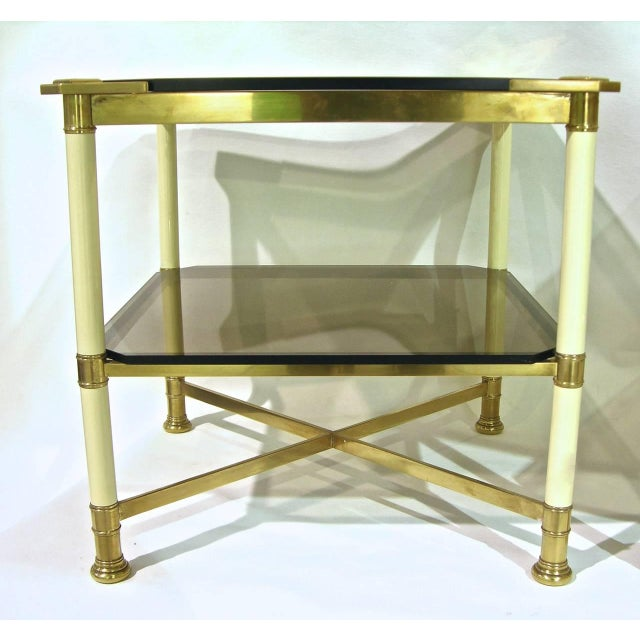 Vivai del Sud Vivai Del Sud 1970s Smoked Glass and Ivory Brass Side Tables - a Pair For Sale - Image 4 of 11