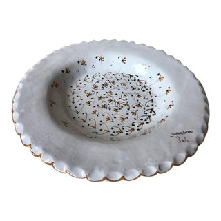 Vintage Hand Painted Italian Bowl With Scalloped Edge For Sale