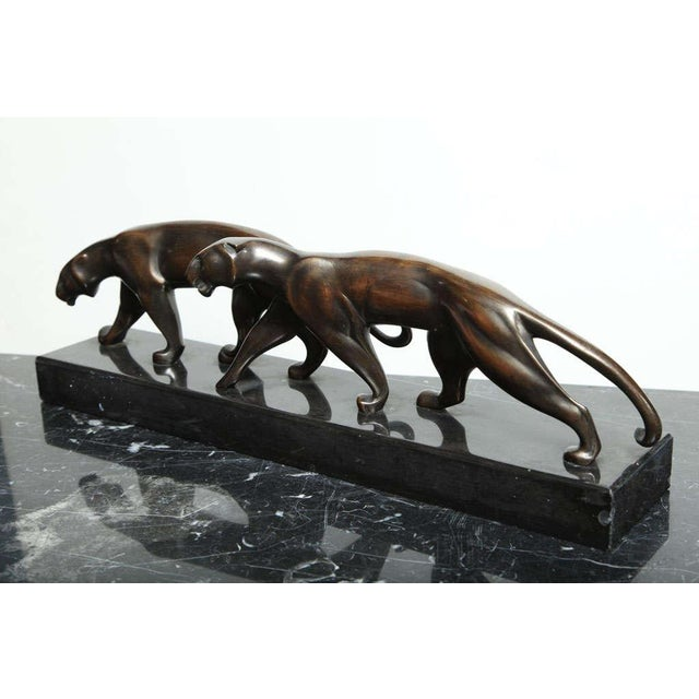 Early 20th Century Art Deco Bronze Panther Group by Michel Decoux For Sale - Image 5 of 10