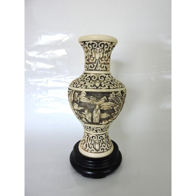 Dynasty Carved Vase and Stand - Image 2 of 7