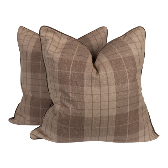 Plaid & Velvet Whittington Pillows - A Pair - Image 1 of 5