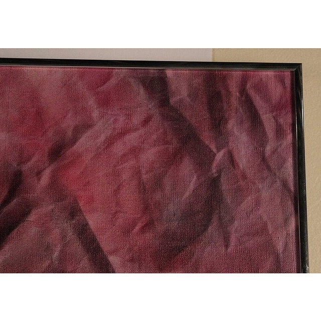 1980s 1980s Original Vintage R. Steele Abstract 3-D Op Art Mid-Century Modern Crimson Red Acrylic on Canvas Painting For Sale - Image 5 of 8