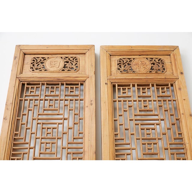 Asian Pair of Chinese Carved Doors With Lattice Windows For Sale - Image 3 of 13