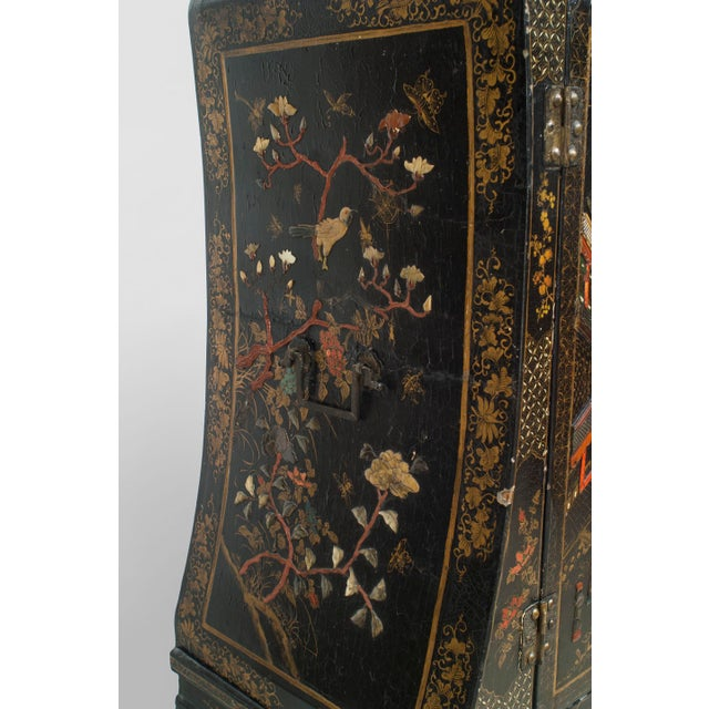 Mid 19th Century Asian Chinese Style Black Lacquered and Chinoiserie Decorated 2 Door Cabinet For Sale - Image 5 of 6